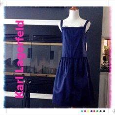 NWOT Lagerfeld Gallery 100% Silk Blue Dress size 6 NWOT 🌹 Lagerfeld Gallery 🌹100% Silk dress. This is a structured silk. Karl Lagerfeld is the designer behind Chanel and this piece comes from one of his eponymous ready to wear lines. Size 6 but can be worn by size 8 because of style.  Never worn. Stunning blue color is best shown in pic 4. Do not miss this opportunity to own a Lagerfeld piece at this price. Made in France. Karl Lagerfeld Dresses