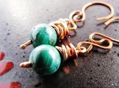 Earrings Green Malachite Copper Wirewrapped by ArtsyAnnas on Etsy, $18.00
