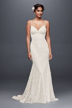 This form fitting and figure flattering eyelash lace sheath dress swoops low at the back, as a lace train trails weightlessly behind.    Galina, exclusively at David's Bridal  Polyester  Sweep train  Back zipper; fully lined  Dry clean  Imported  Also available in extra length  Style available without train