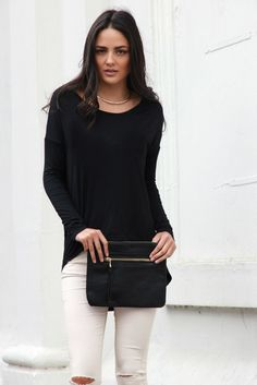 New Beginnings Top Black - Madison Square Madison Square, New Beginnings, Black Tops, Blouse, Long Sleeve, Sleeves, Collection, Women, Fashion