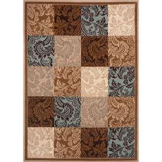 Damask Blue/ Brown Boxes Area Rug (7'10 x 10'2)   Overstock.com Shopping - Great Deals on 7x9 - 10x14 Rugs