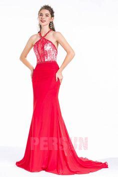 Meerjungfrau-Stil Neckholder Hof-Schleppe  Perlen bestickt spitze Abendkleid