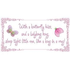 With a butterfly kiss and a ladybug hug sleep tight little one like a bug in a rug! Removable Wall Vinyl Sticker - stickers art sayings quote butterflies ladybugs lady bug nursery girl room baby girls decor decoration decorations