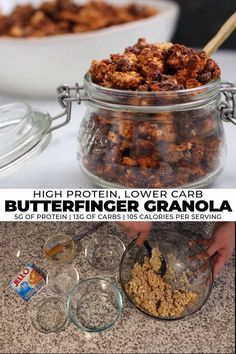 Making homemade granola is easy! Check out these recipes for copycat Butterfinger, chocolate peanut butter, pumpkin spice, and classic cinnamon protein granola and start making your own extra crunchy granola. Perfect for snack meal prep! Low Carb Granola, Crunchy Granola, Chocolate Granola, Mini Chocolate Chips, Raw Food Recipes, Dessert Recipes, Freezer Recipes, Freezer Cooking, Drink Recipes