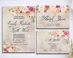 Kit de invitación invitación boda rosada Floral rústico