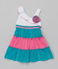 Look what I found on #zulily! White & Teal Asymmetrical Dress - Infant, Toddler & Girls by Youngland #zulilyfinds