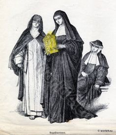 Monachism. Monastic costumes history. Augustinians Nuns habit.