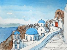 Santorini Oia 7 Greece art print from an original by AndreVoyy