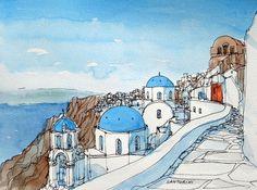 Santorini Oia 7 Greece art print from an original by AndreVoyy
