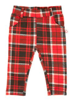 Red Plaid Jersey Jeggings