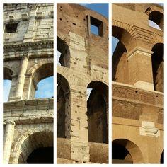Zoals je ziet heb je verschillende kanten van het Colosseum. Een kant met zuilen, een kant zonder zuilen en een kant gemaakt van bakstenen. Waarom dit is weet ik niet precies. Ik heb het proberen op te zoeken maar dat lukte niet. Ik denk dat het iets te maken heeft met de tijd waar elk stuk in gemaakt is. Maar dat weet ik niet zeker.