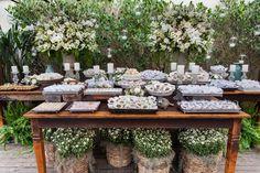 Mesa de doces para casamento rústico - Decoração Anna Carolina Werneck - Foto Momento Fotográfico
