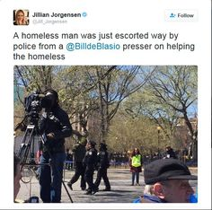 Police Escort Black Homeless Man Away From Mayor Bill de Blasio Presser… On Helping The Homeless…