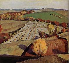 "Grant Wood: 1931 Study for ""Fall Plowing"" Figge Art Museum, Davenport, Iowa American Gothic, American Art, Landscape Art, Landscape Paintings, Landscapes, Grant Wood Paintings, Oil Paintings, American Realism, Art Grants"