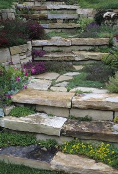 Gorgeous curved winding stone steps. They are costly but worth the end result.