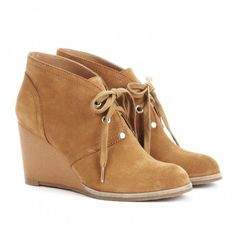 Lace up wedge bootie in genuine suede