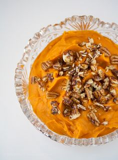 For the perfect Thanksgiving side dish, try these seductive whipped sweet potatoes with candied pecans for crunch! #FallFest #FoodNetwork