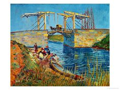 Vincent Van Gogh's The Drawbridge at Arles with a Group of Washerwomen