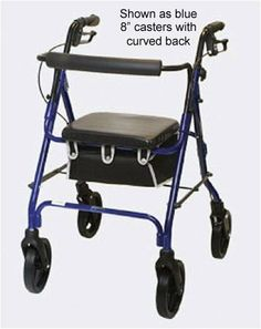 Rollator With 8 Casters Burgundy With Padded Seat by Mobility Products. $120.33. 8 casters with curved back. Burgundy. Removeable storage pouch. Lightweight aluminum frame w/adj. height handles. Folds easily for storage and transportation. Easy-squeeze loop brake system. Thick padded plastic seat. 2-Button removeable backrest. All aluminum welded. 300 lb. weight capacity. Seat 13 x 13.5. Item weight 12 lbs. Handle height 35 to 38. Seat to floor 21