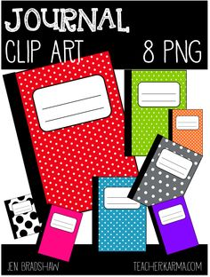 FREE JOURNAL CLIP ART Brightly colored, polka dotted journal clip art that is great for adding to parent newsletters, literacy and writing station. Writing Notebook, Journal Notebook, Writing A Book, Reading Books, Junk Journal, Teacher Freebies, Classroom Freebies, Classroom Ideas, Book Clip Art