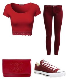 """Reddy"" by valerie3456 ❤ liked on Polyvore featuring Sisley, Converse and Chanel"