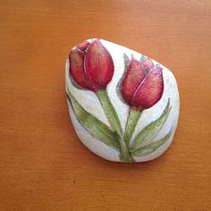 Hand Painted rock of two red tulips on a by LucidOldLadyStudio