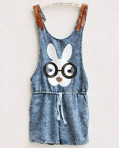 Blue Spaghetti Strap Rabbit Pattern Drawstring Denim Jumpsuit - Sheinside.com