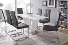 Krásný jídelní stůl - deska stolu:  MDF, bílý lak - vysoký lesk / + 5 mm silné bílé sklo Table Centerpieces For Home, Dining Chairs, Dining Table, Dining Rooms, Verre Design, Table Extensible, Table Design, Design Moderne, Laksa