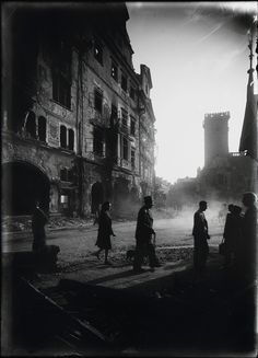 Josef Sudek, View from Celetná Street to Old Town Square after the Prague Uprising, 1945 Urban Photography, Artistic Photography, Street Photography, Prague, Josef Sudek, Classic Film Noir, Whispers In The Dark, Old Town Square, Famous Photographers