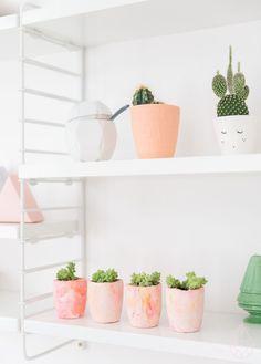 Zilverblauw - DIY plaster planters