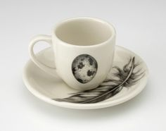 Laura Zindel Design - Espresso Cup and Saucer: Quail Egg White - Feather & Egg - Collections