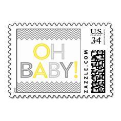 Gray and Yellow Modern Chevron Baby Shower Postage Stamp