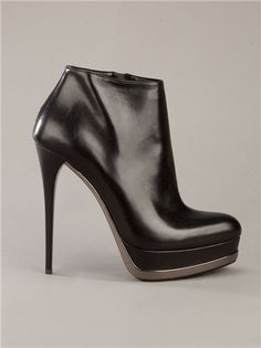 GIANMARCO LORENZI black leather platform chrome boots Bootie high heel