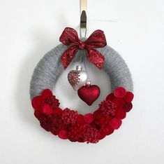 Hearts Wreath Red and Gray Valentine Wreath by TheBakersDaughter