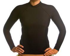 Beach Depot UPF 50+ Women`s Long Sleeve Rash Guard Shirt - Black Medium $29.95