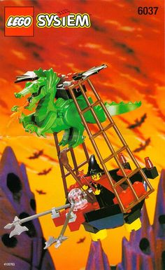 Build a vessel with a harnessed green dragon with passenger platform suspended from its back via LEGO 'rope' ladder sections. COMPLETE SET with Instruction Manual. Lego Chevalier, Legos, Instructions Lego, Lego Super Mario, Classic Lego, Lego Knights, Lego System, Lego Castle, Vintage Lego