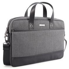 Amazon.com: 15.6 inch Laptop Shoulder Bag, Evecase Fabric and Leather Modern Business Tote Briefcase Laptop Messenger Bag with Accessory Pockets ( Fits Up to 15.6-inch Macbook, Laptops, Ultrabooks) - Black / Gray: Computers & Accessories