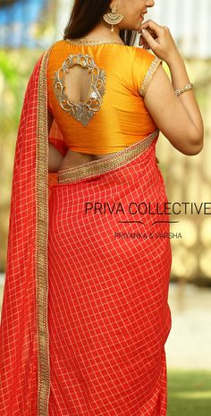 PV 3582 : Red and Mustard Yellow. Price : <br> Look pretty in this trendy yet simple sari. Red checkered chiffon sari finished with golden cutwork border Unstitched blouse piece : Mustard yellow raw silk with golden patch work blouse as displayed in Saree Blouse Neck Designs, Simple Blouse Designs, Stylish Blouse Design, Bridal Blouse Designs, Cutwork Blouse Designs, Designer Blouse Patterns, Design Patterns, Mode Hijab, Mustard Yellow