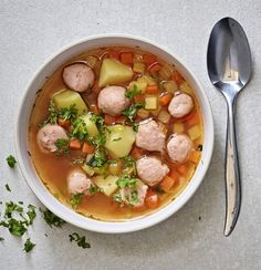 bowl of sausage soup served with root vegetables, carrots, and beets Clear Broth Soups, Clear Soup, Salmon Soup, Scandinavian Food, Sausage Soup, Baked Cheese, Sweet Pastries, People Eating, Fall Recipes