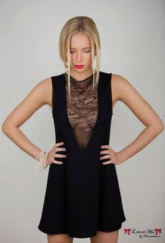 AVIANA Dress / Tunic with lace decolte BLACK by LaceMeByKarumniece on Etsy