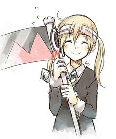 anime, anime girl, happy, kawaii, maka albarn, scythe, soul eater