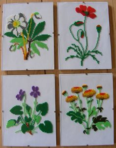 Flowers - 4 pictures (patterns from cross stitch books) hama beads by Vivi Eisborg
