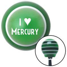 White I 3 MERCURY Green Stripe Shift Knob with M16 x 15 Insert