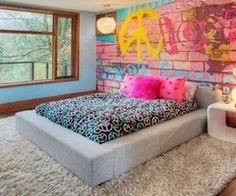 Teenage bedroom graffiti. I want that wall in my room so bad (hint hint MOM for when we move!!!!!!)