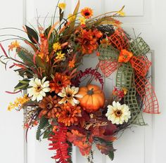 Many more wreaths CLICK HERE: https://www.etsy.com/shop/PataylaFloralDesigns?ref=si_shop Fall Thanksgiving Pumpkin Wreath Silk by PataylaFloralDesigns, $65.00