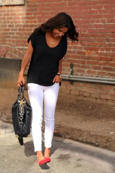 white denim, red pointed toe flats
