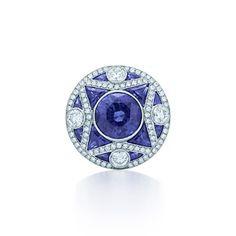 Bague en platine, diamants et saphirs, collection Gatsby le Magnifique.