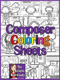 Meet the Composers-set of 12 Coloring Sheets /Coloring Boo Music Lessons For Kids, Music Lesson Plans, Singing Lessons, Music For Kids, Piano Lessons, Singing Tips, Fun Music, Compositor Musical, Kindergarten Music