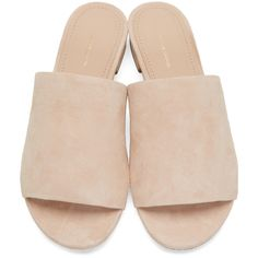 Mansur Gavriel Beige Suede Flat Mules ($375) ❤ liked on Polyvore featuring shoes, sandals, suede sandals, flat sandals, slip on flat mules, mule sandals and slip on mules