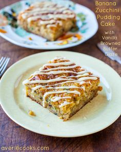 Banana Zucchini Pudding Cake with Vanilla Browned Butter Glaze. Moist, rich, & daily servings of fruits & vegetables by way of cake & browned butter